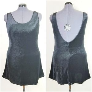 Vintage 90s Velvet Scoop Back Mini Dress
